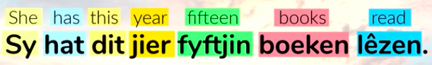 English and Frisian comparison